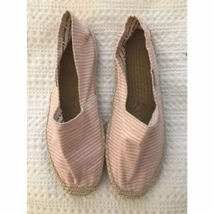 Soludos Flat Espadrilles | Pink and White | Size38